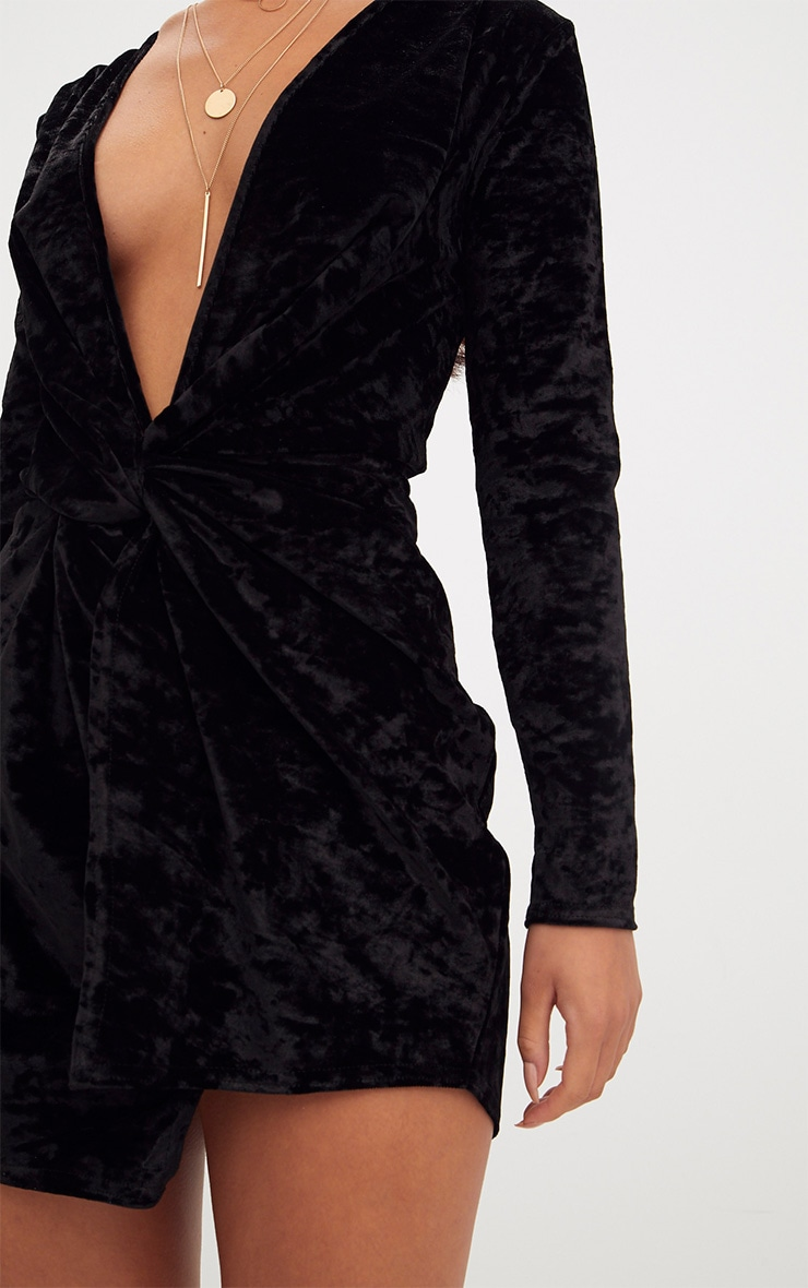 Black Velvet Knot Front Long Sleeve Bodycon Dress 5