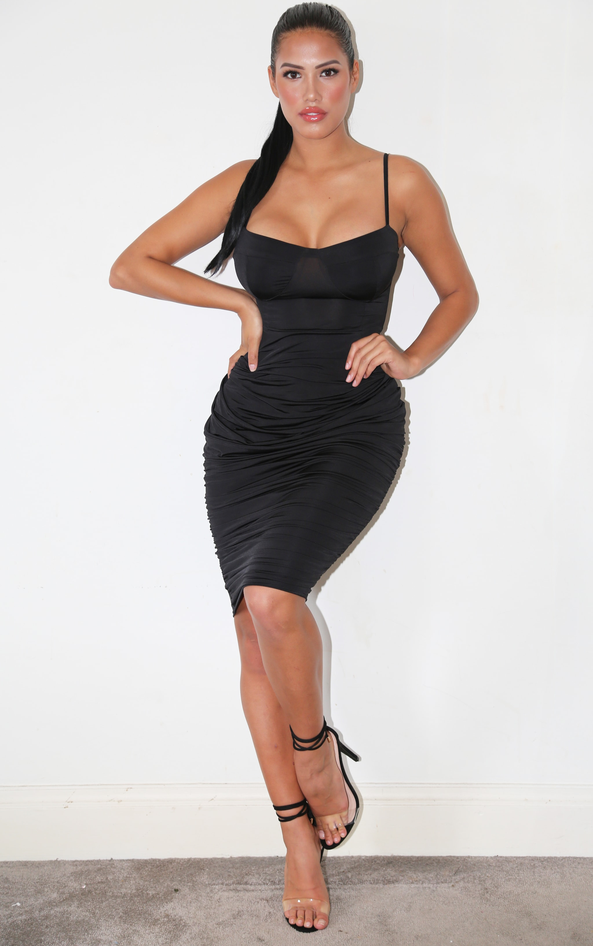 Shape Black Slinky Cup Detail Ruched Midi Dress 1