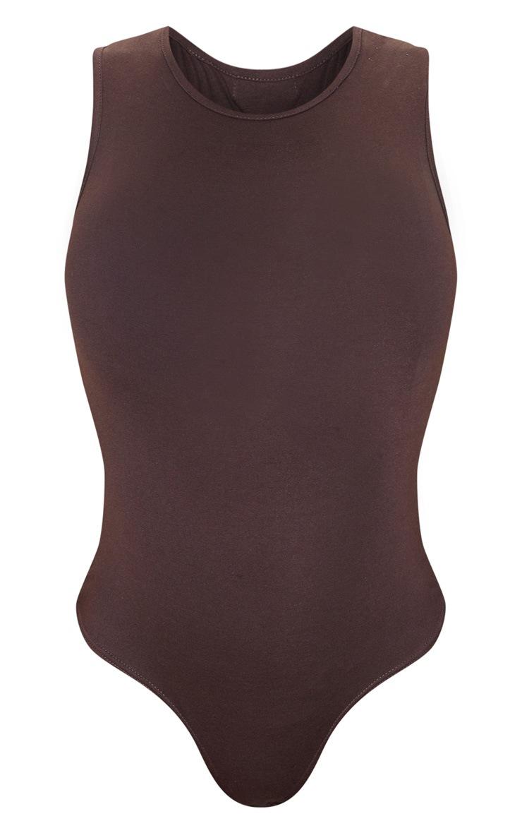 Chocolate High Neck Sleeveless Bodysuit 3