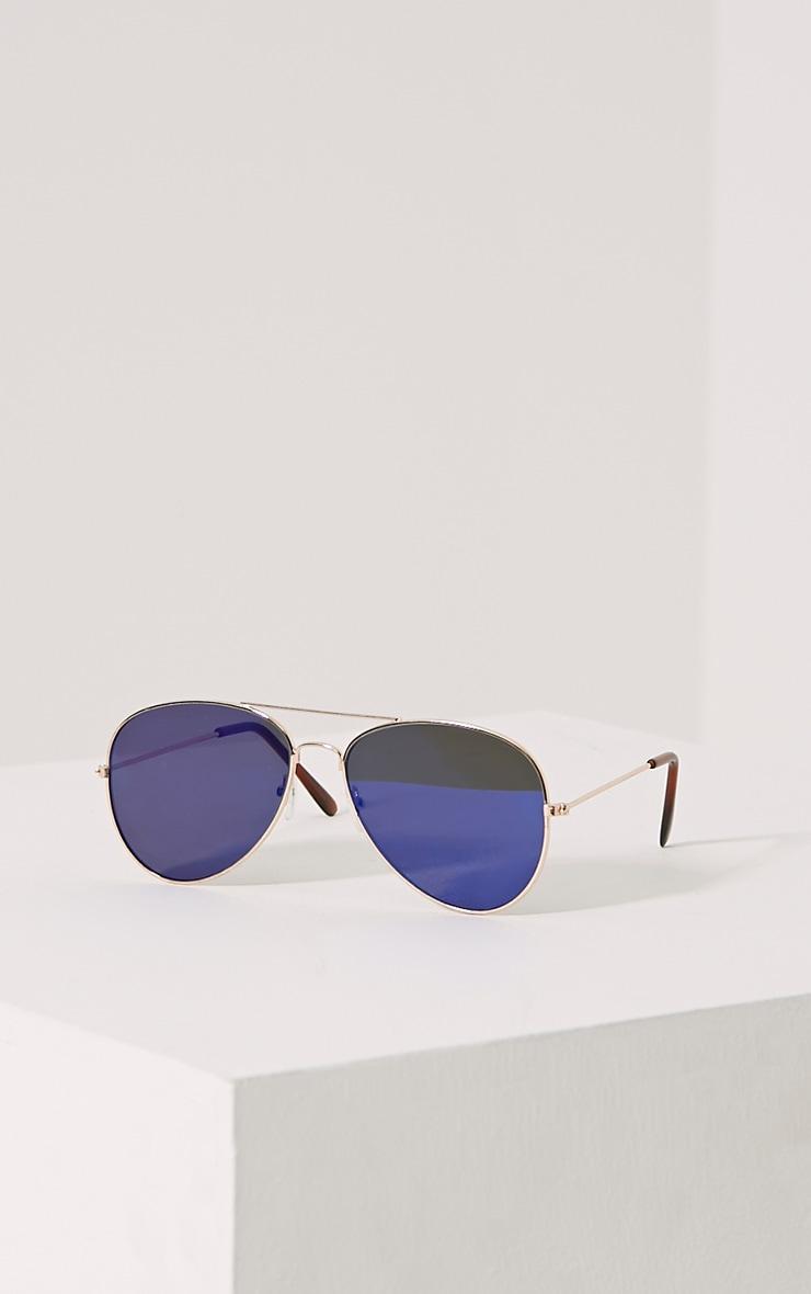 Lux Blue Lense Aviator Sunglasses 1