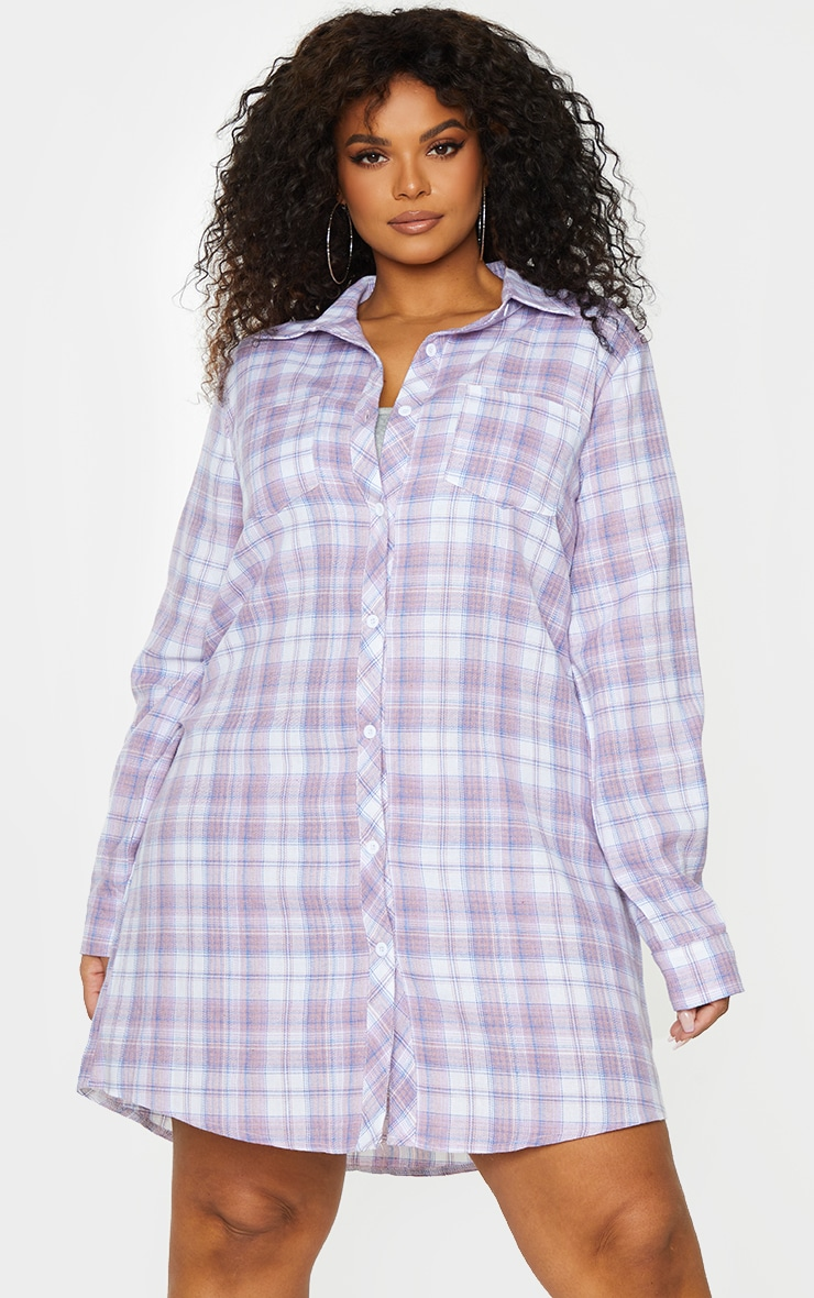 Plus Lilac Checked Oversized Shirt Dress 1