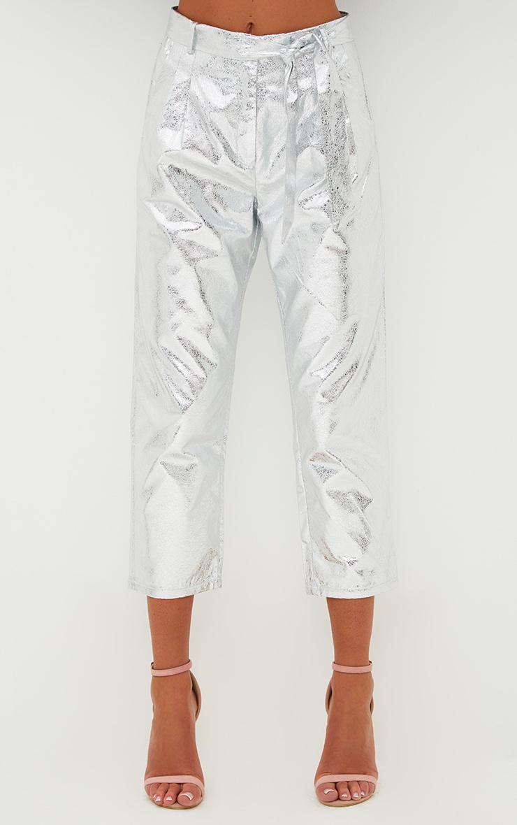 Silver Crack Vinyl Tie Waist Crop Trousers  2