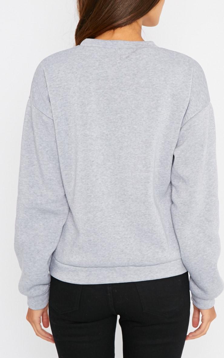 Lari Grey Nice Slogan Sweater  2