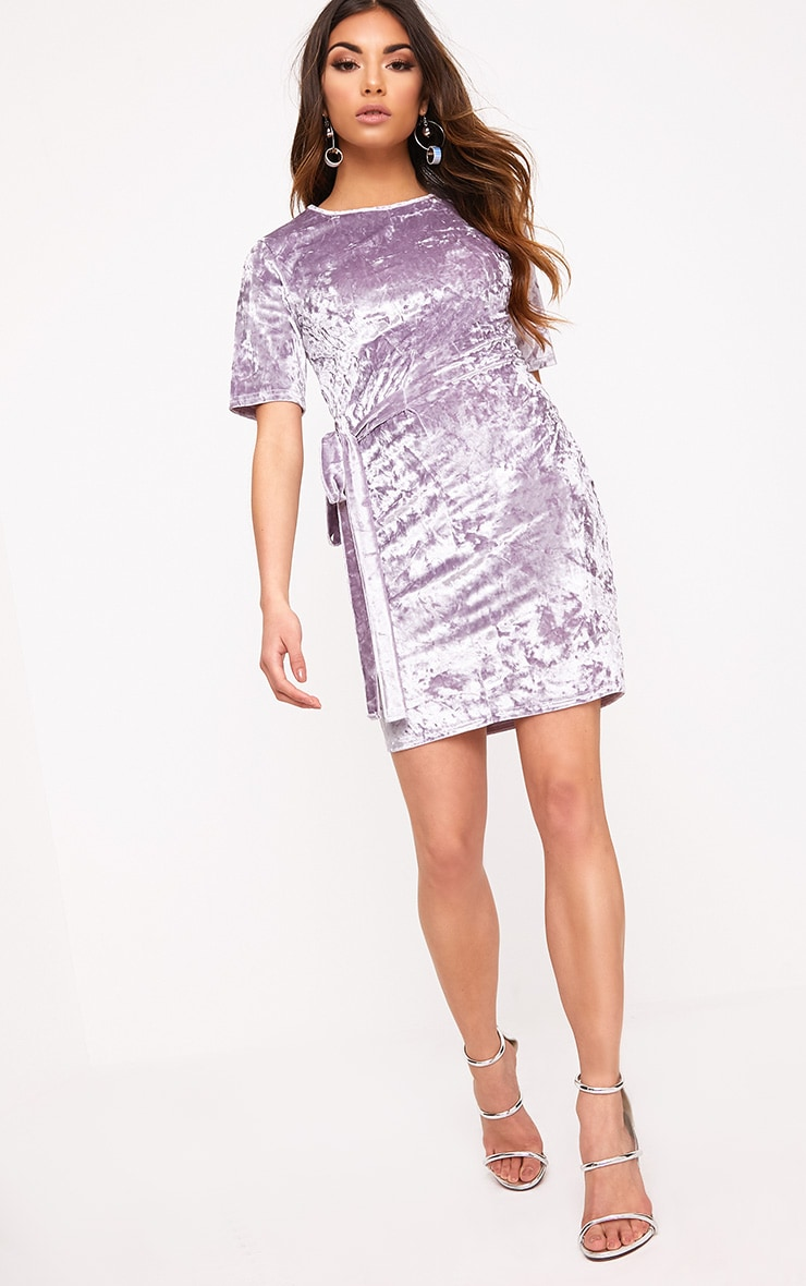 Lula Lilac Crushed Velvet Tie Side T Shirt Dress  4
