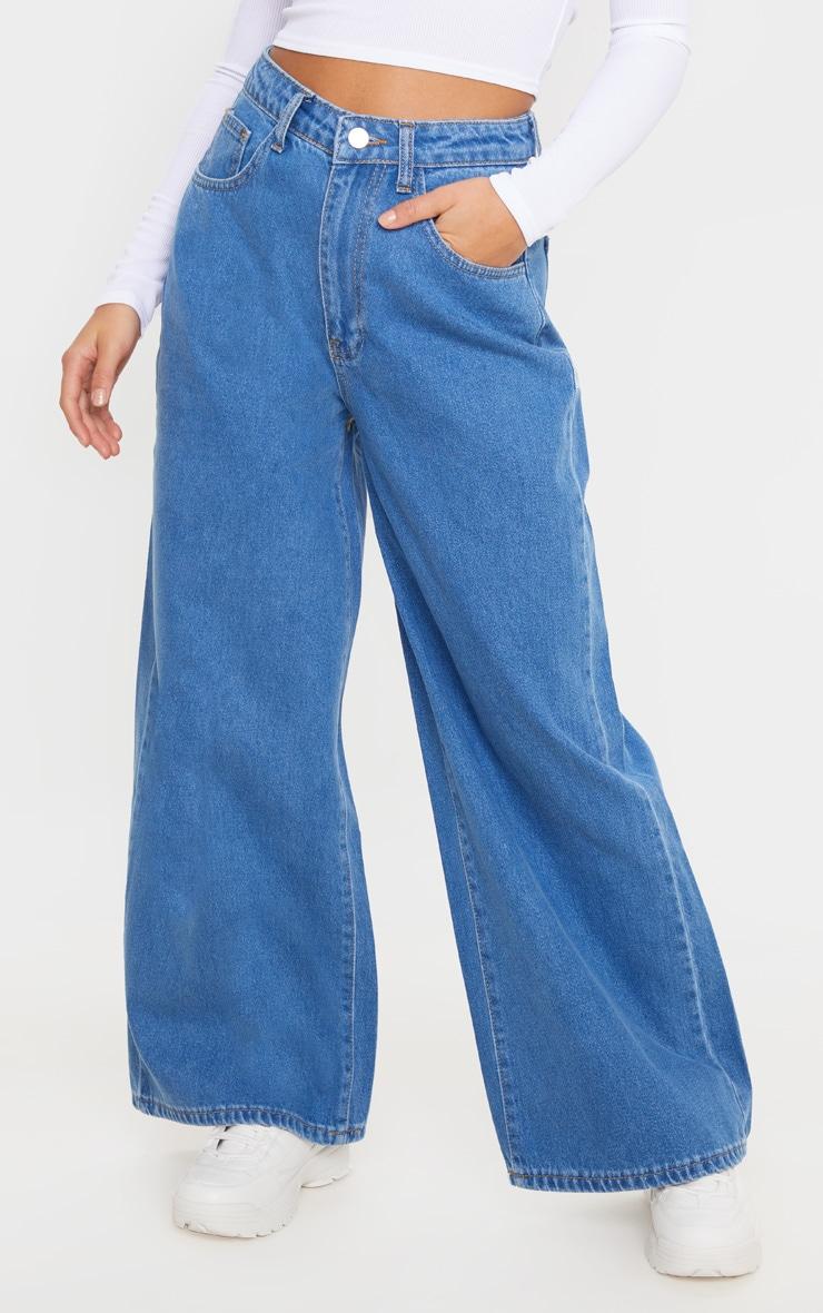 Petite Mid Wash Wide Leg Jeans 2