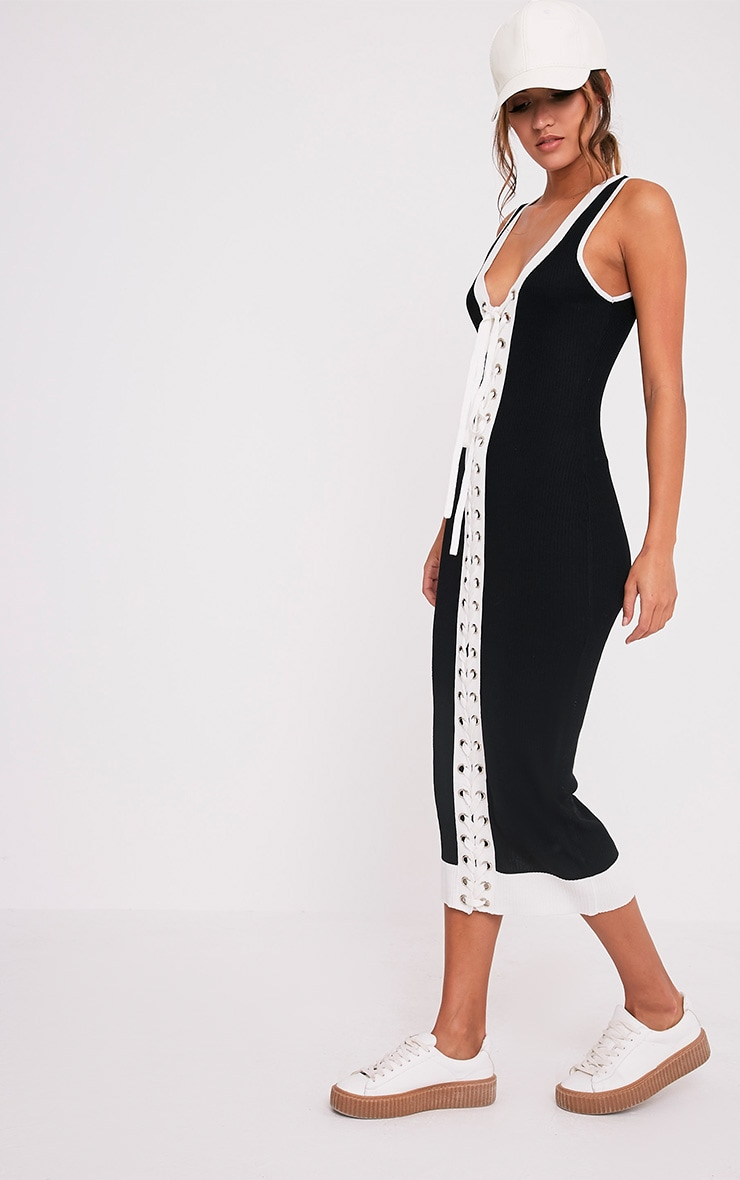 Joseline Knitted Black Knitted Tie Ribbed Maxi Dress 4