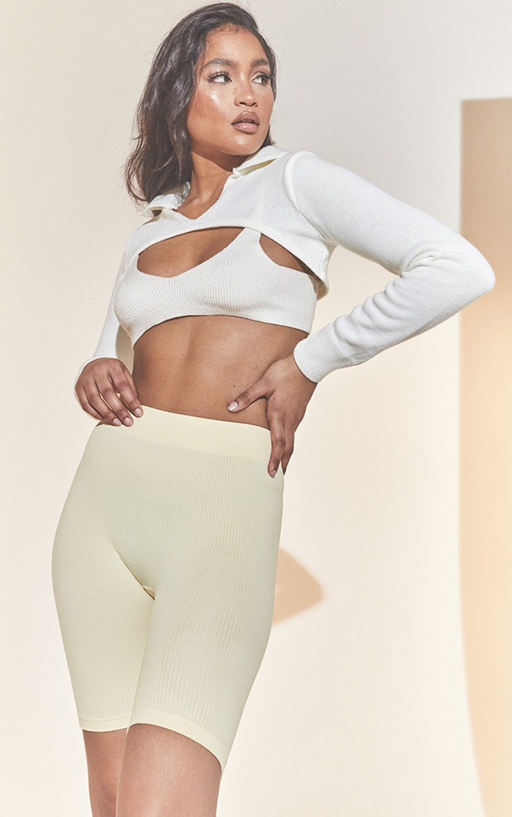Cream Structured Contour Rib Cycle Shorts 4