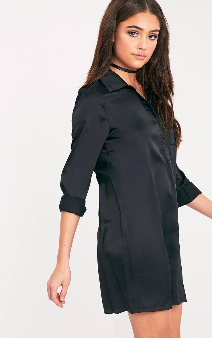 Layla Black Satin Shirt Dress 4