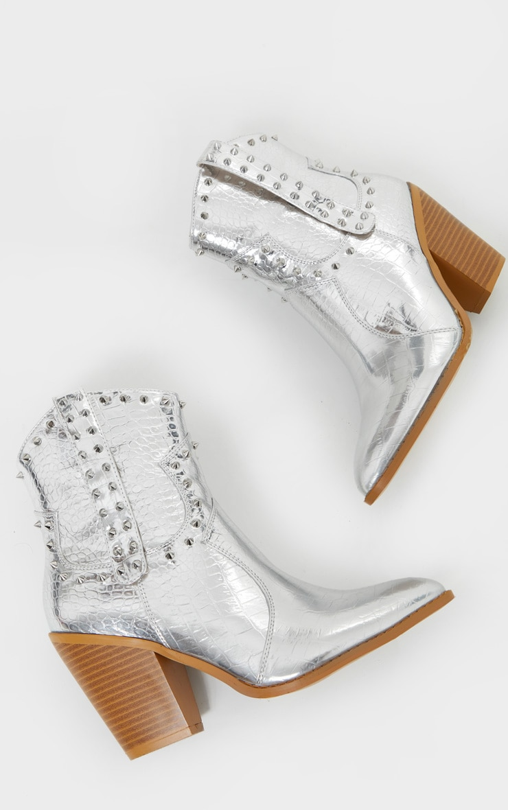 Silver Studded Western Heeled Boots 3