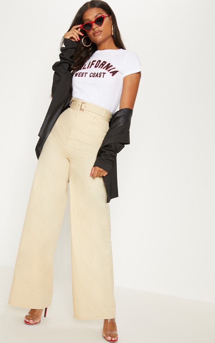 Cream Belted Waist Wide Leg Trouser