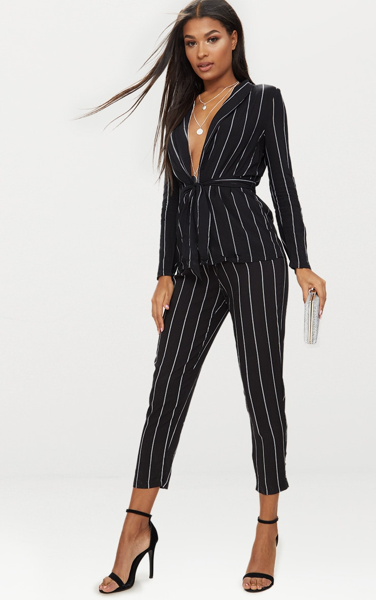 Black Pin Stripe Belted Blazer 4
