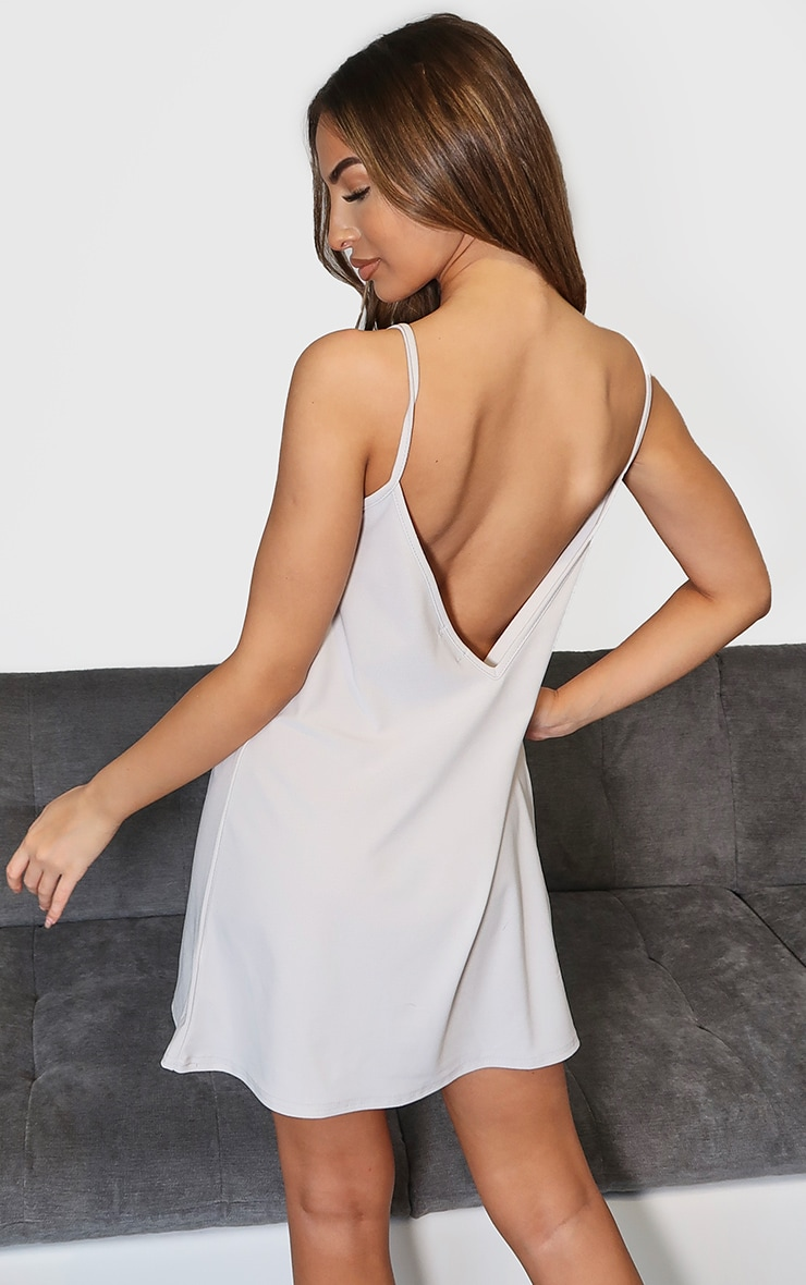Grey Marl Backless Strappy Detail Cami Dress 2