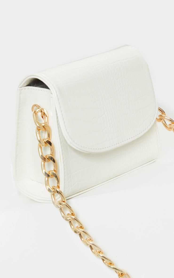 White Croc Chunky Chain Shoulder Bag 2