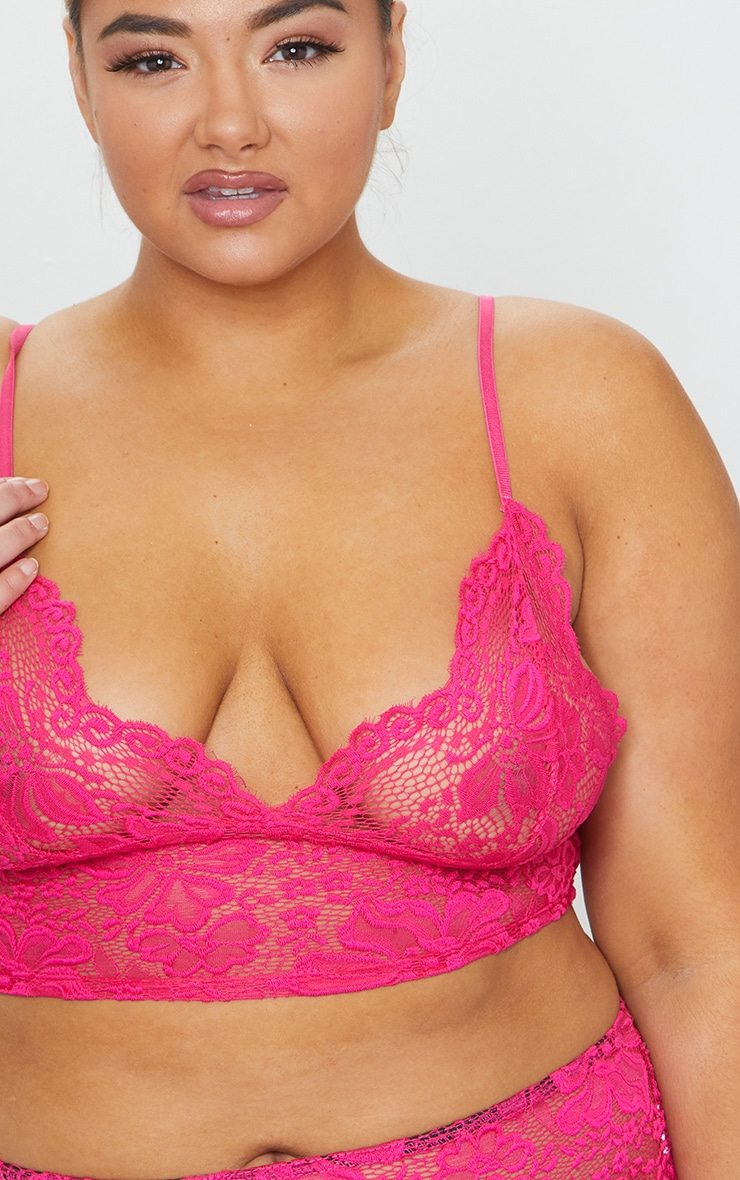 Plus Hot Pink Lace Longline Bra 4