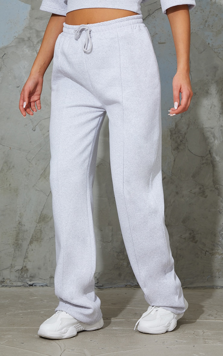 Ash Grey Seam Detail Wide Leg Joggers 2