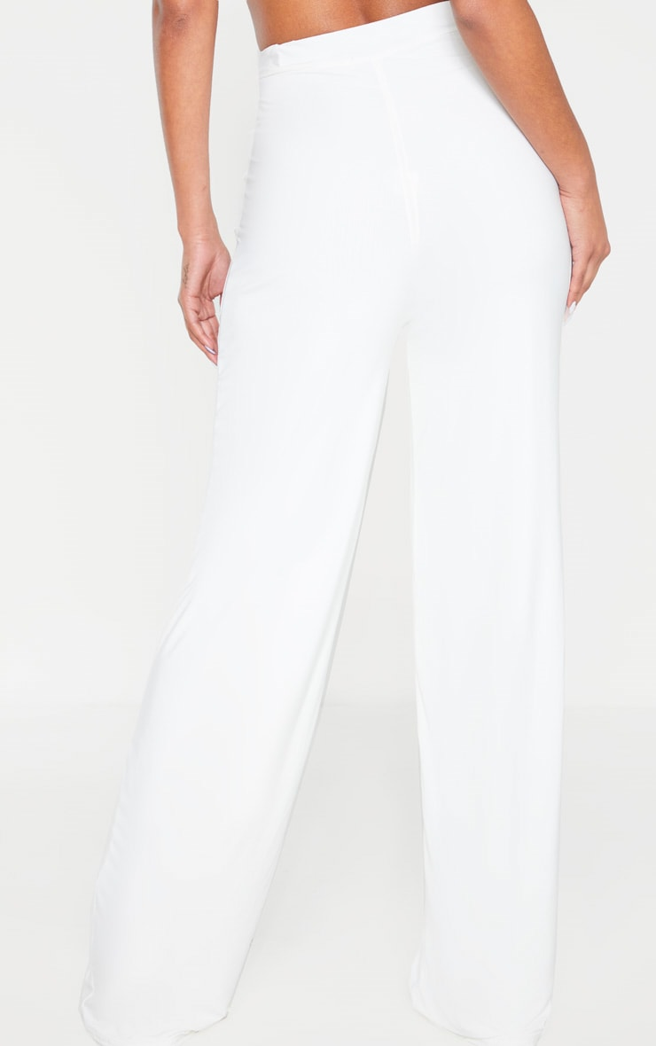 Cream Slinky Detail Wide Leg Pants 2