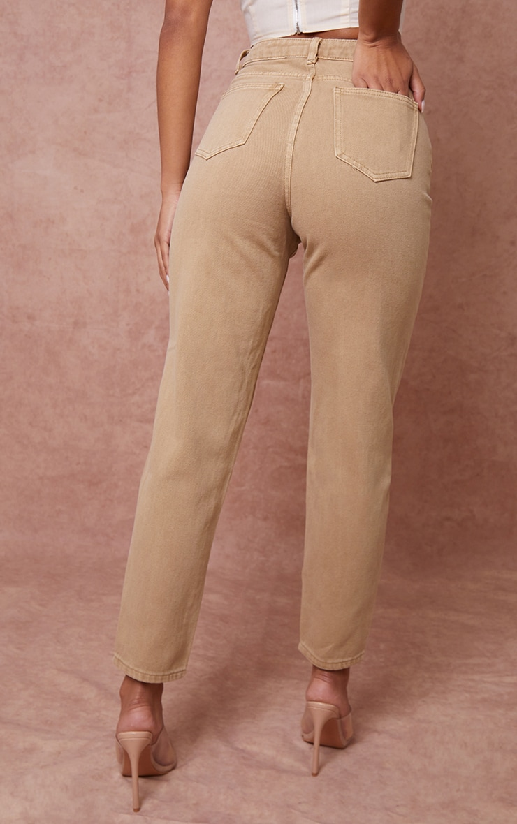 PRETTYLITTLETHING Tan Mom Jeans 3