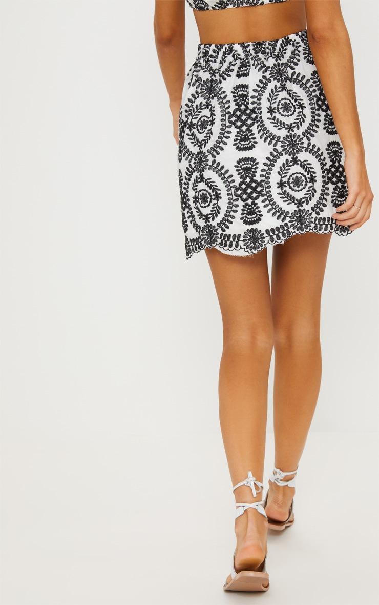 Black Embroidered A-Line Mini Skirt 4
