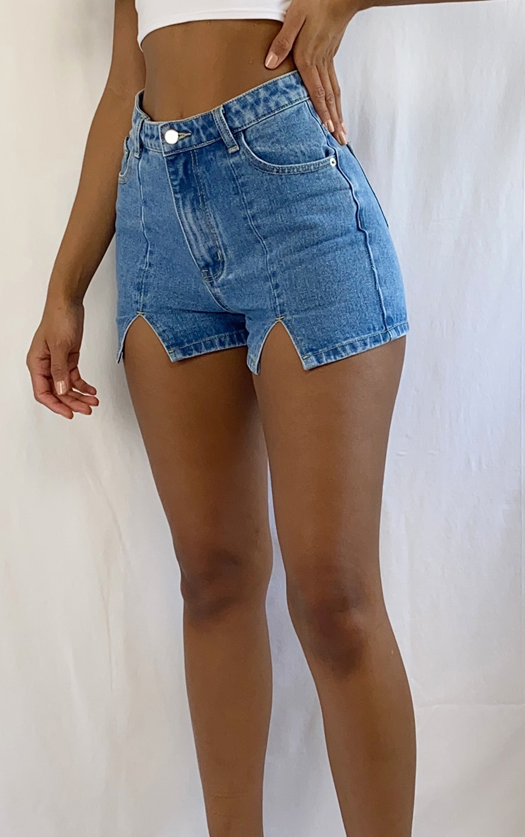 Vintage Wash Denim Split Hem Shorts 5