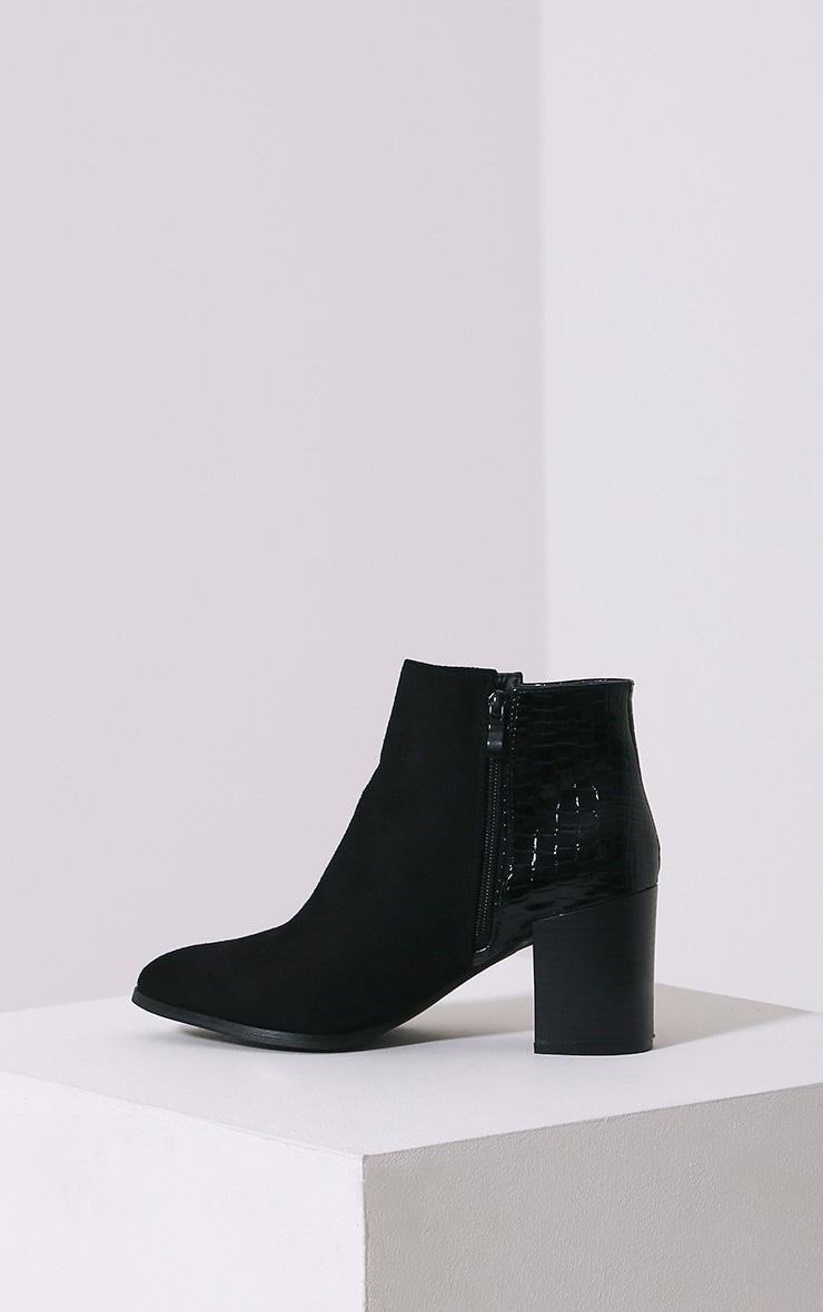 Kimi Black Croc Patent Heel Suede Boots 4