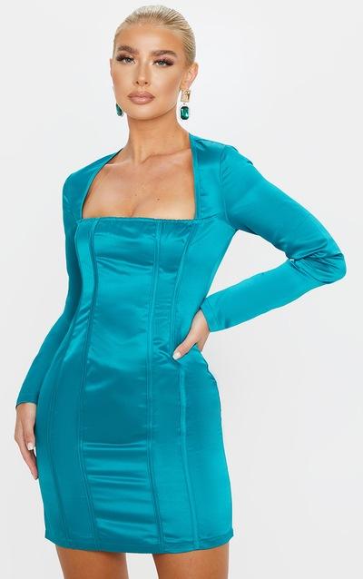Jasper Green Satin Square Neck Panelled Bodycon Dress
