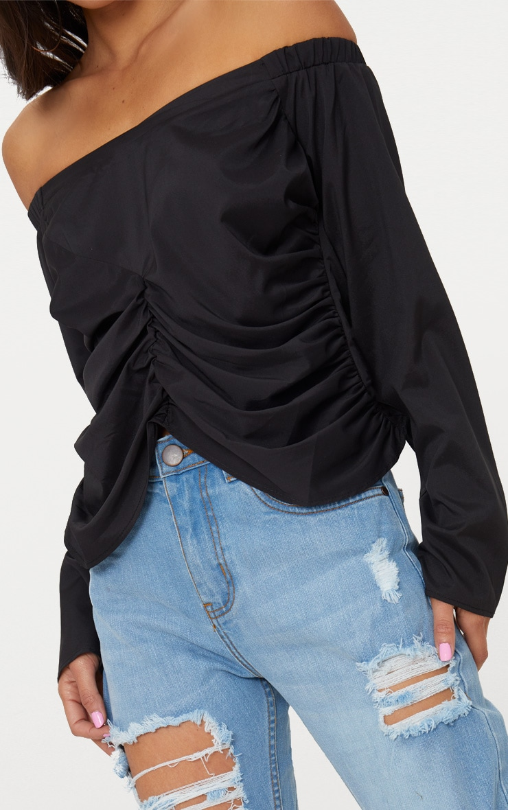 Black Ruched Front Bardot Shirt 5
