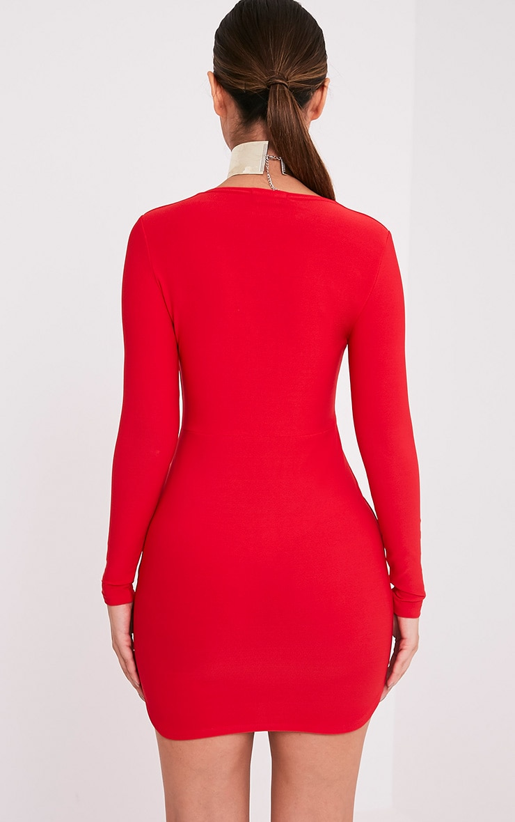 Shylo Red Long Sleeve Plunge Bodycon Dress 2
