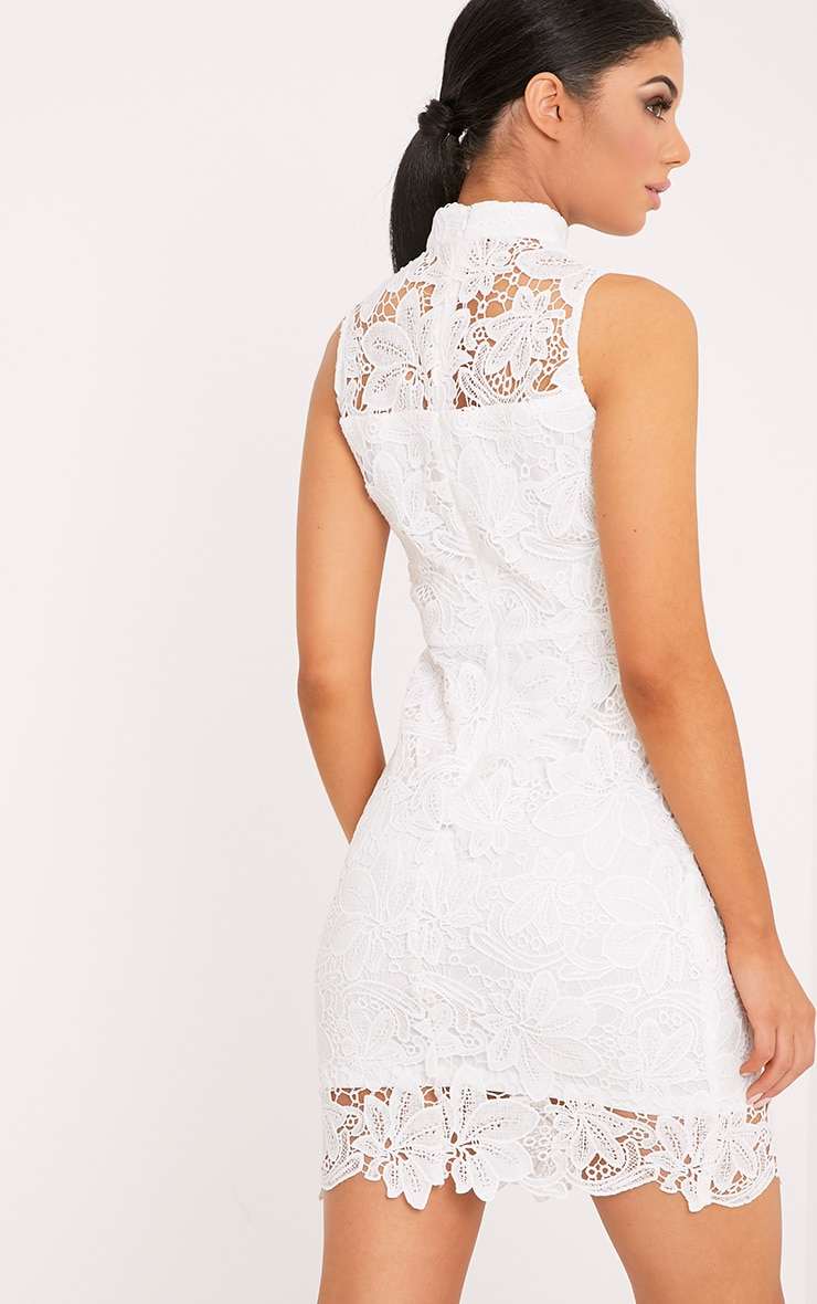White lace up frill detail bodycon dress