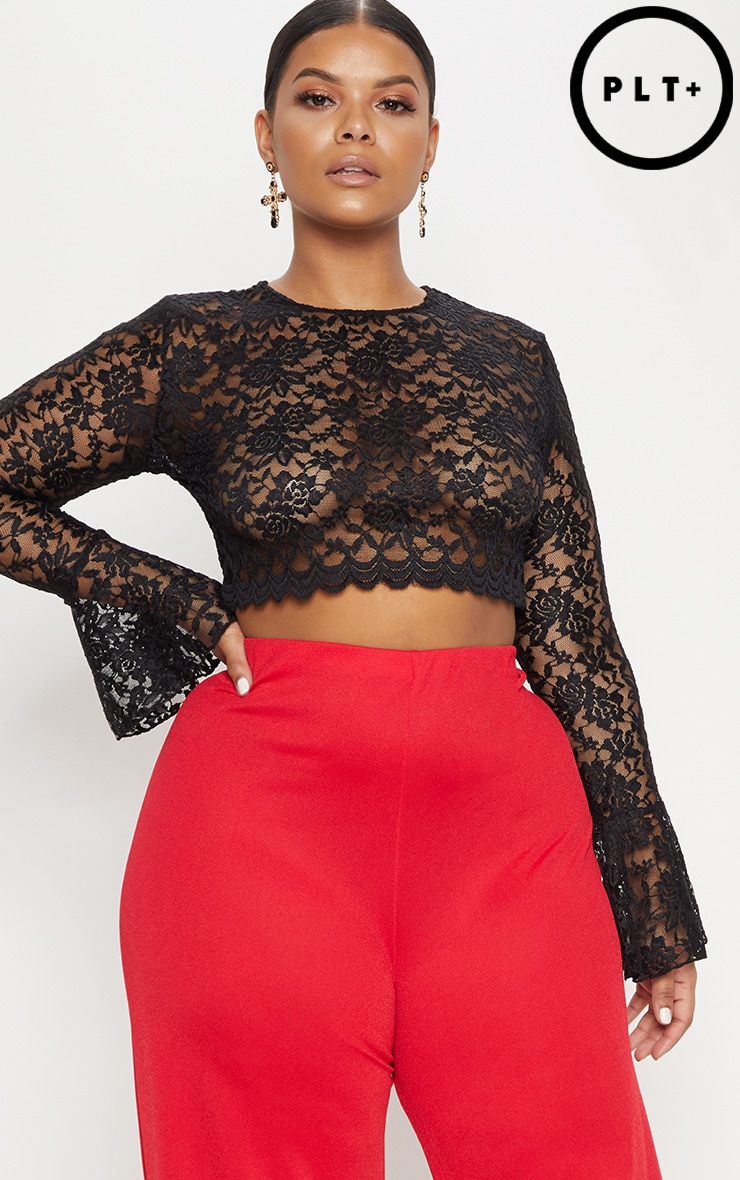 Plus Black Sheer Lace Crop Top 1