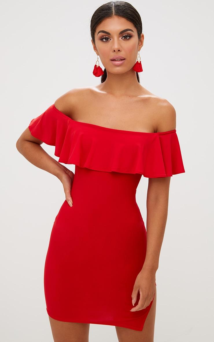 Red Bardot Frill Split Side Bodycon Dress 1