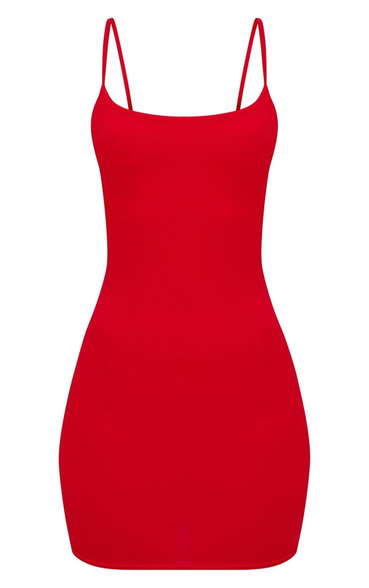 Red Square Neck Spaghetti Strap Bodycon Dress 3