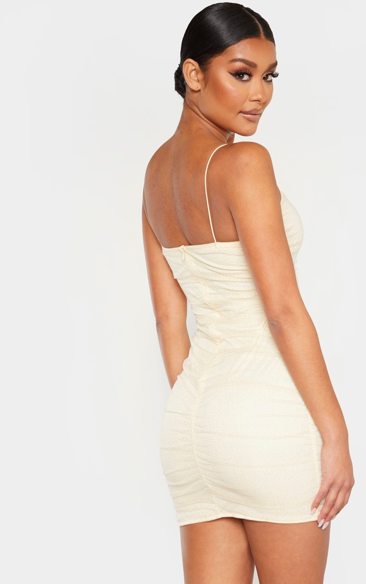 Nude Glitter Mesh Ruched Strappy Bodycon Dress 2