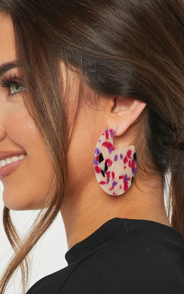 White And Pink Speckled Disc Statement Earrings