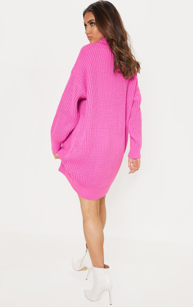 Hot Pink Oversized High Neck Knitted Sweater Dress 2