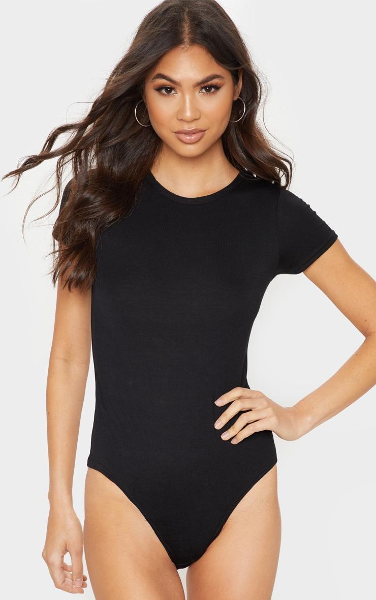 Body basique noir à manches courtes 2