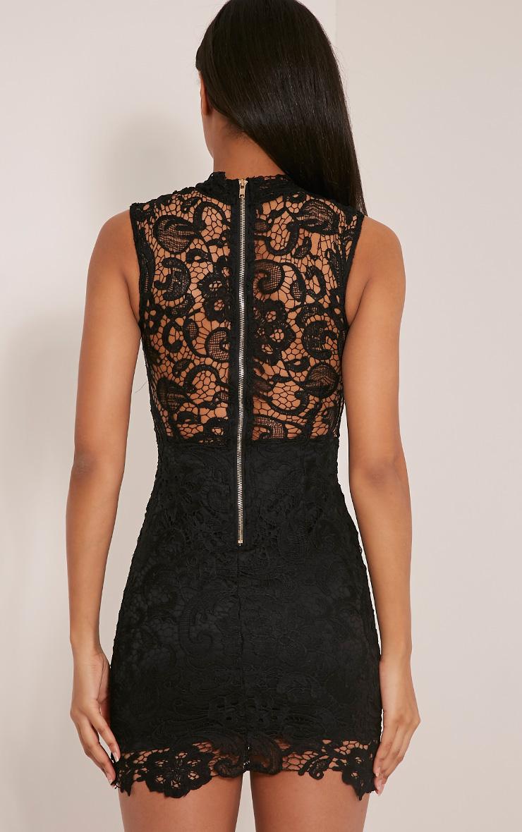Reenah Black Lace Detail Bodycon Dress 2