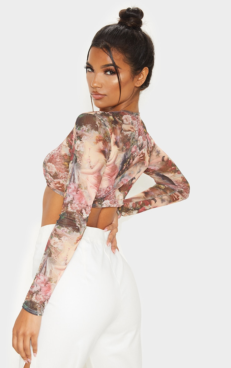 Rose Renaissance Printed Mesh Long Sleeve Crop Top 2