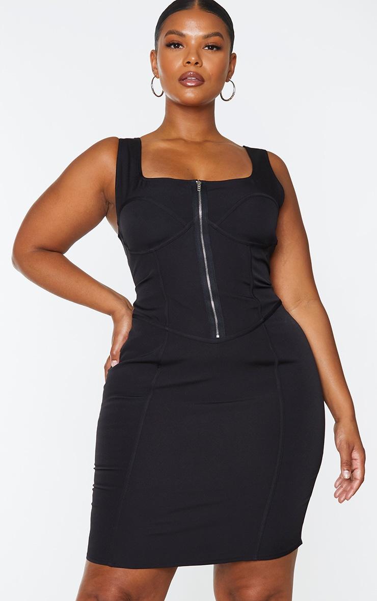 Plus Black Corset Detail Zip Front Midi Dress 1