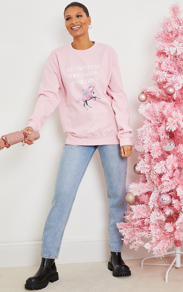 Pink All I Want For Christmas Is A Unicorn Sweatshirt 3