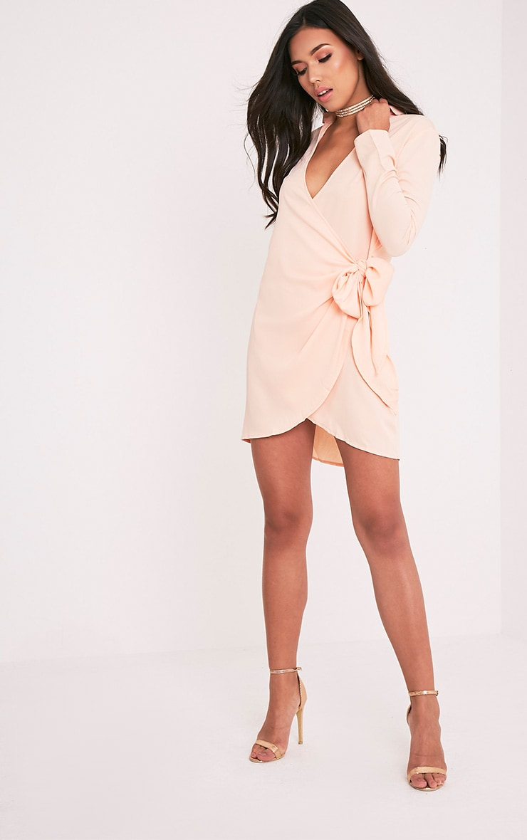 Shaylene Nude Tie Side Satin Shirt Dress 5