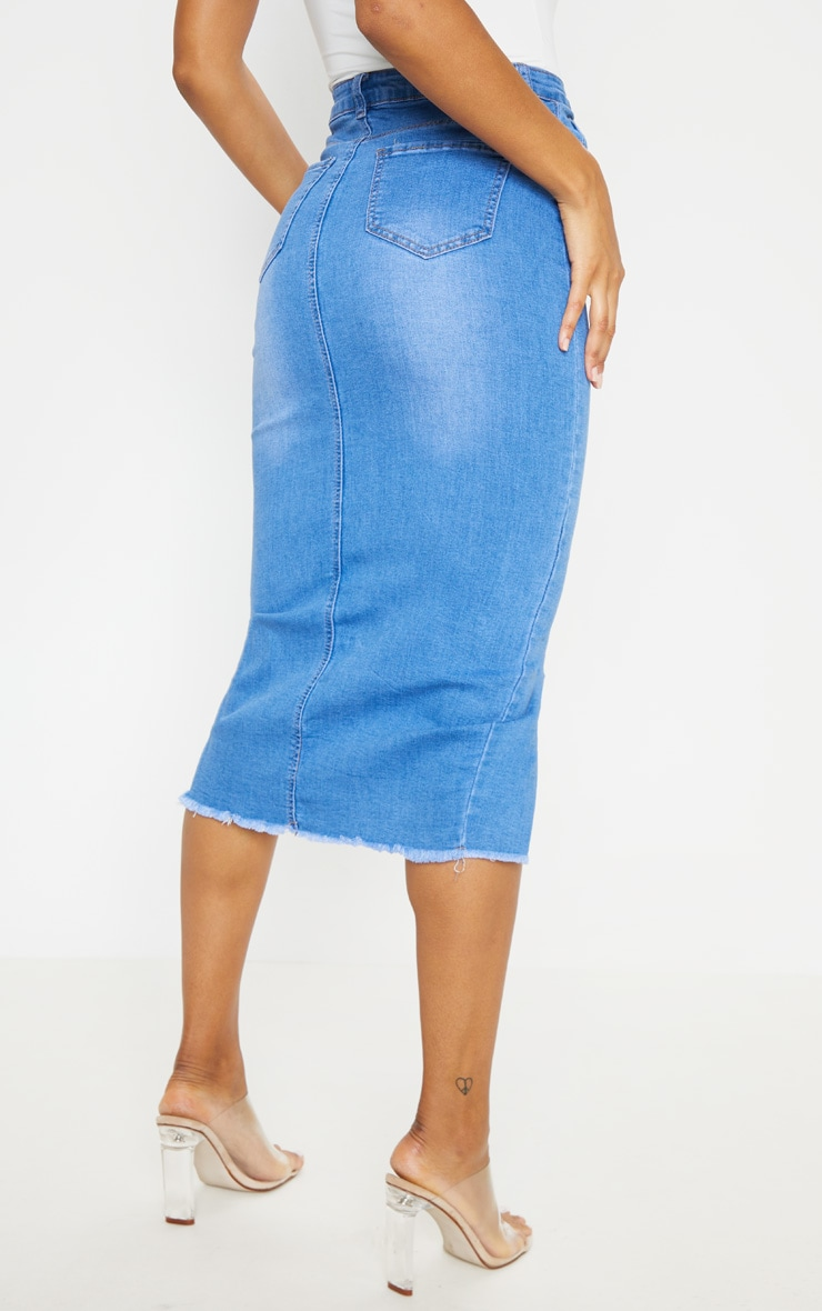 Mid Wash Denim Midi Skirt 4