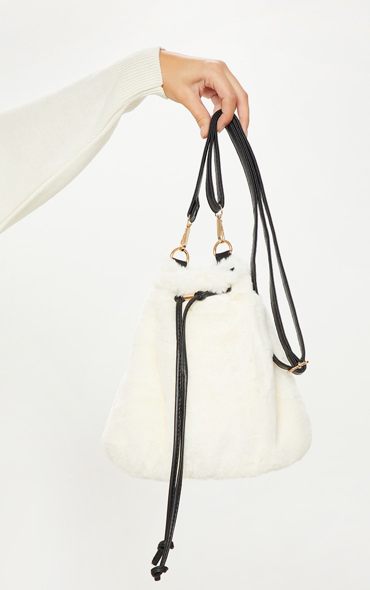 Cream Faux Fur Bucket Bag