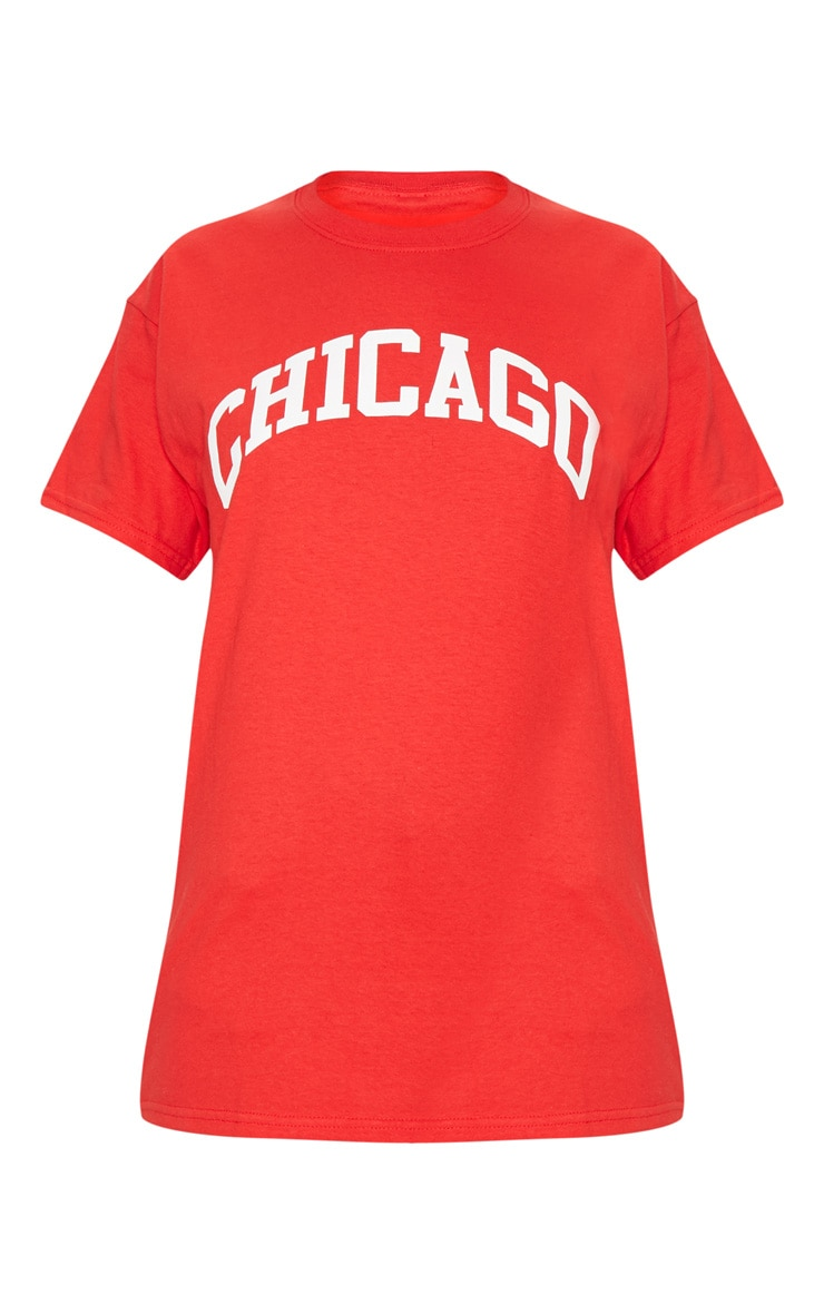 Red Chicago Slogan Oversized T Shirt 4
