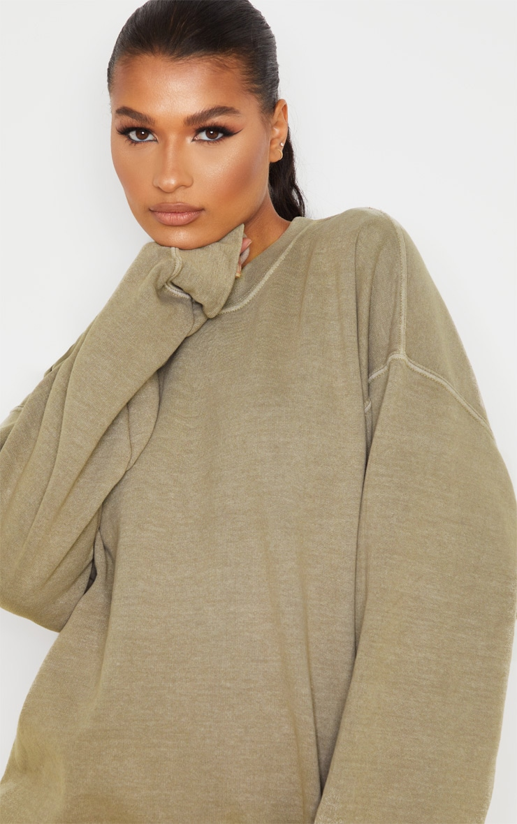 Taupe Oversized Washed Sweater 5