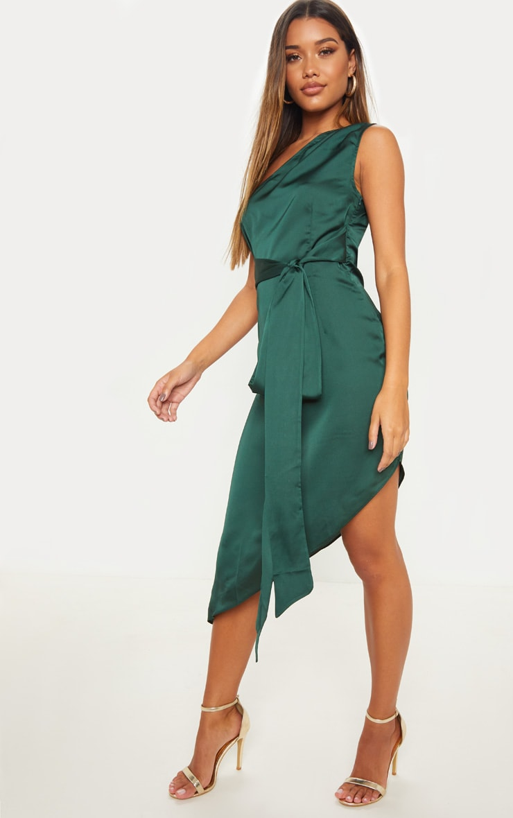 Emerald Green Satin One Shoulder Tie Waist Asymmetric Hem Midi Dress 4