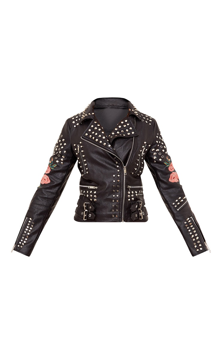 Black LA Lady Extreme Studded PU Biker Jacket 3