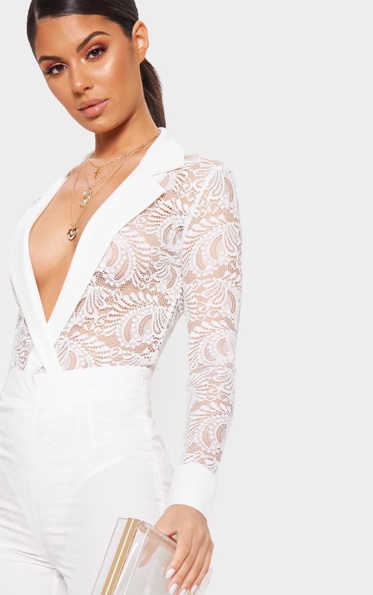 White Lace Longsleeve Collar Detail Bodysuit  4
