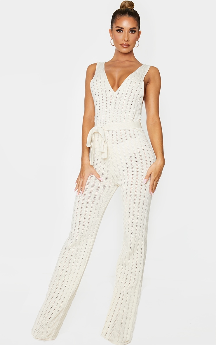 Cream Crochet Knitted Belted Jumpsuit 1