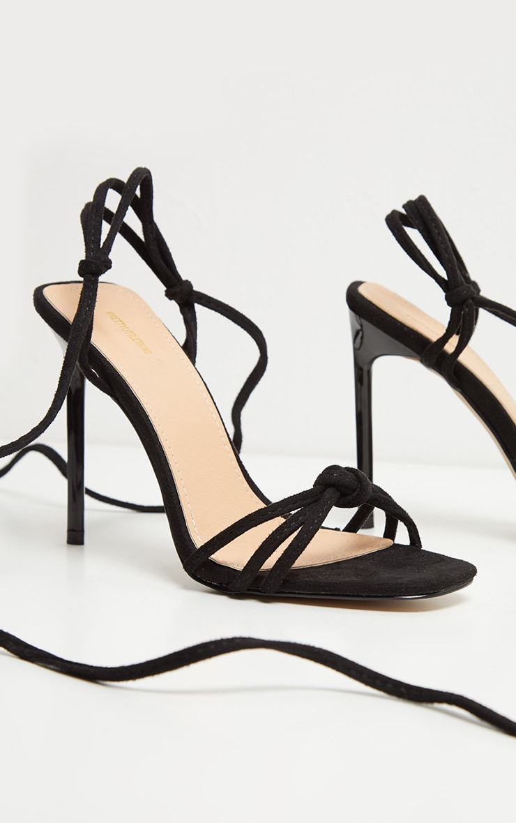 Black Knot Lace Up Strappy Sandal 3
