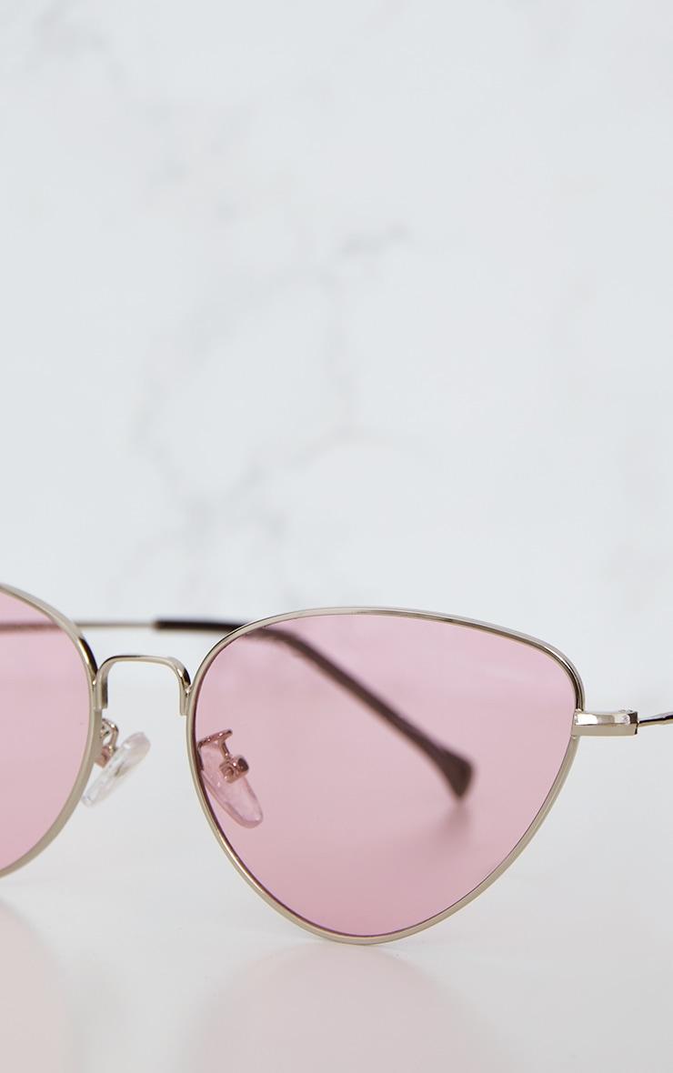 Lunettes rétro oeil de chat à verres roses 5